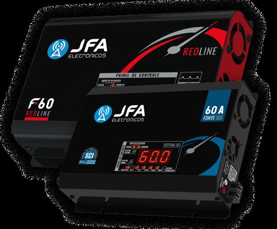 Imagem ilustrativas com uma fonte JFA Redline e uma fonte JFA SCI